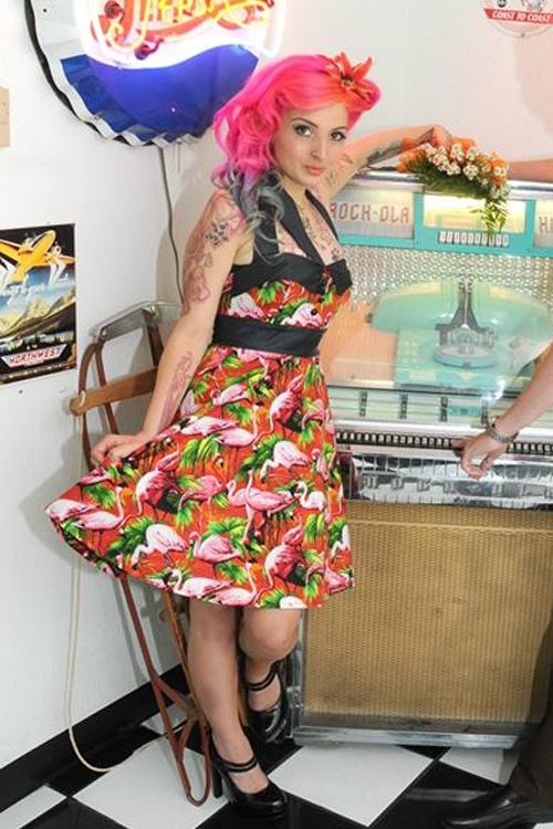 Pink flamingo pin-up dress — Mel Bambi's wedding in Las Vegas