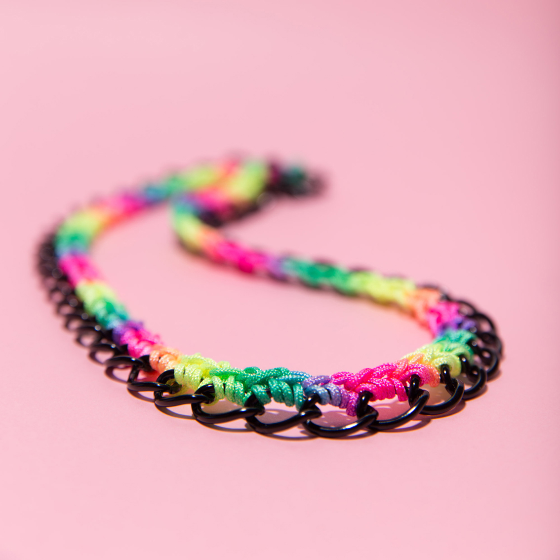 Rainbow Crocheted Necklace (color chain options : black, silver)