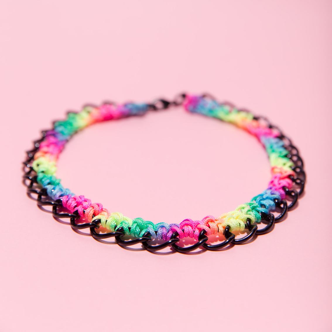 Rainbow Crocheted Choker (color chain options : black, silver)